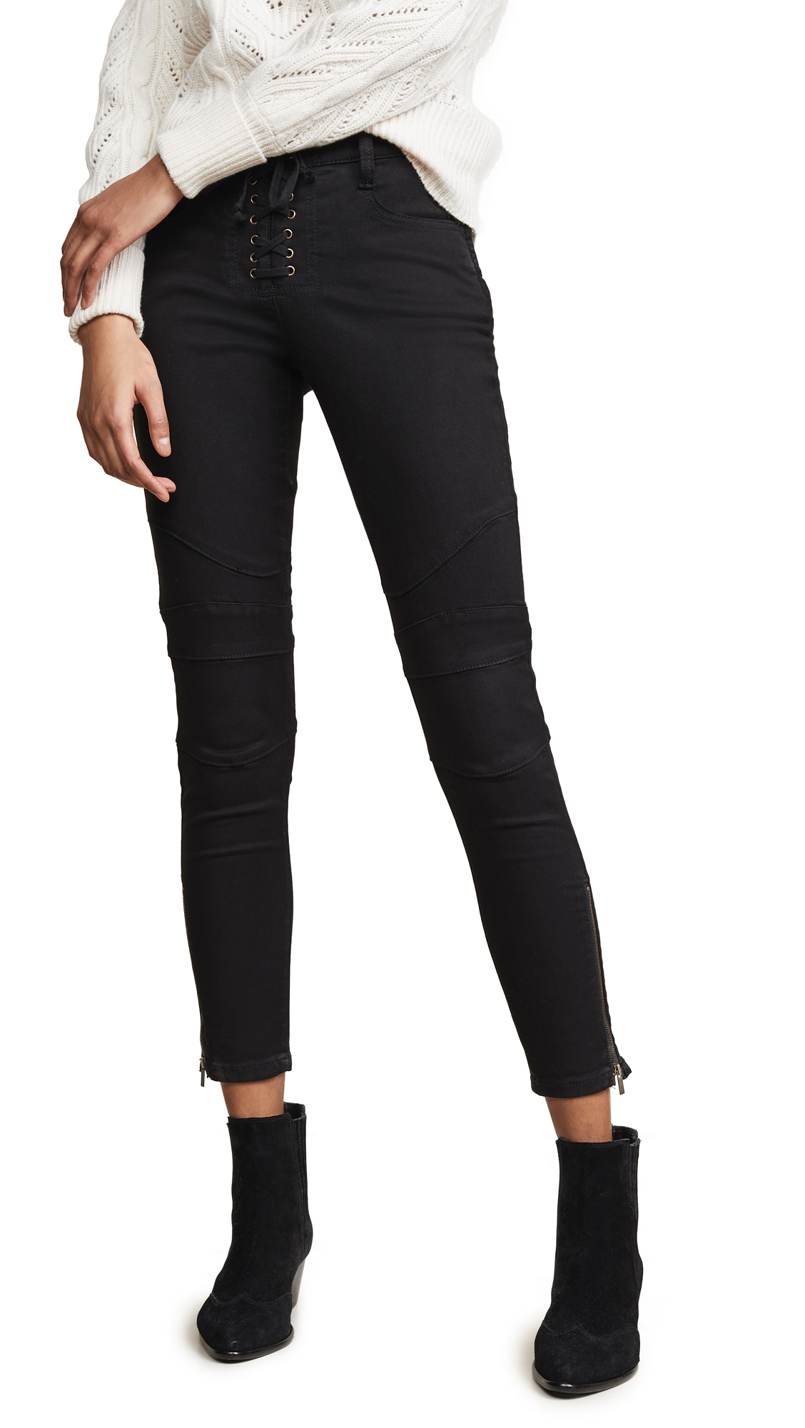 Adorea Skinny Lace-Up Ankle-Zip Moto Pants in Caviar