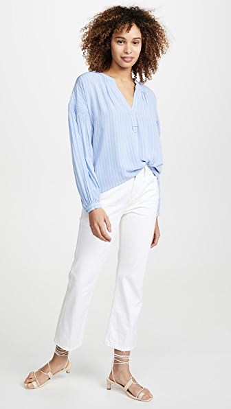 Joie Azabeth Striped Popover Top In Sunset Blue