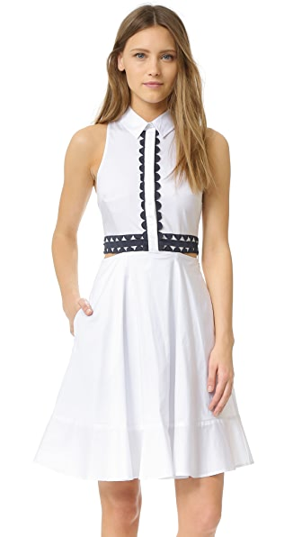 Jonathan Simkhai Cutout Trim Shirtdress - White/Navy