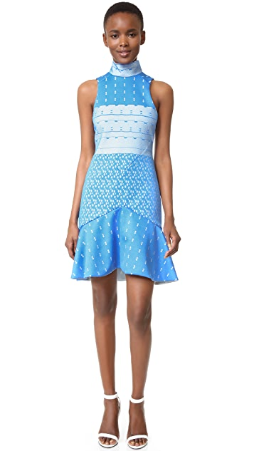 Jonathan Simkhai Bonded Lace Mock Neck Dress
