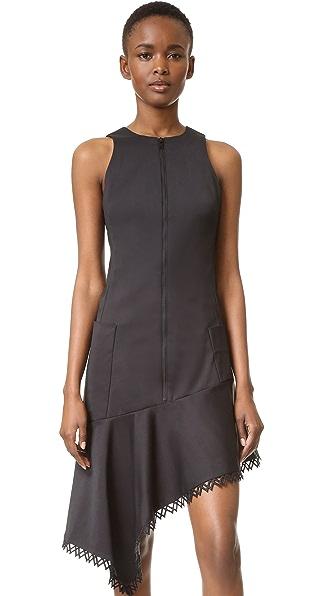 Jonathan Simkhai Zip Front Ruffle Dress - Black