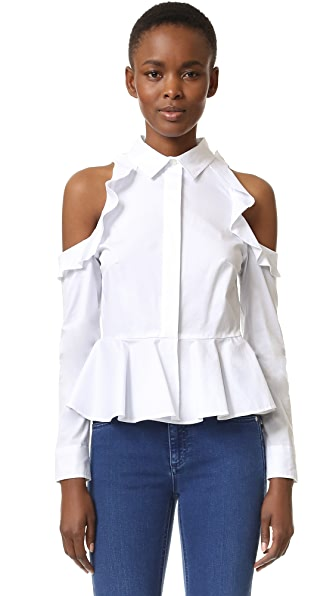 Jonathan Simkhai Cutout Shoulder Ruffle Shirt - White