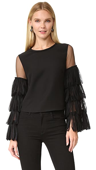 Jonathan Simkhai Loop Tulle Silk Top - Black