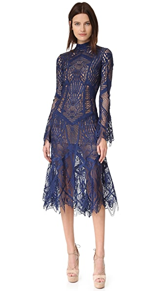 Jonathan Simkhai Mock Neck Lace Flare Midi Dress - Navy