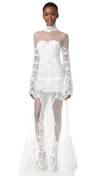 Jonathan Simkhai Flare Sleeve Lace Gown