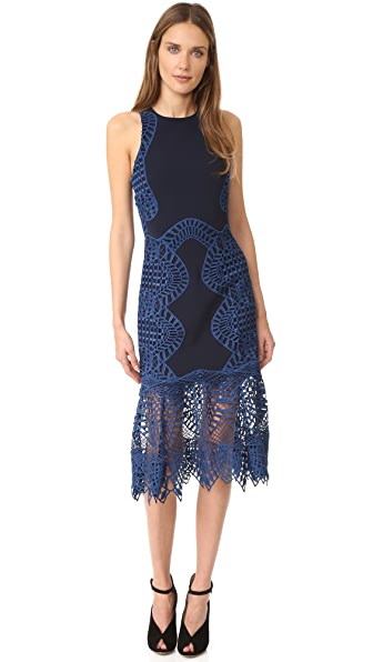 Jonathan Simkhai Lace Trim Halter Dress - Navy