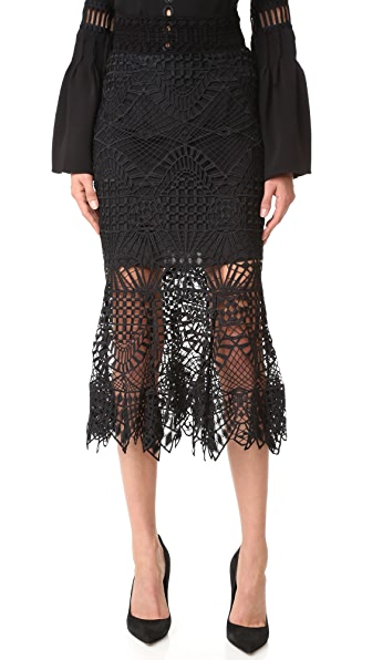 Jonathan Simkhai Bridge Lace Trumpet Skirt - Black