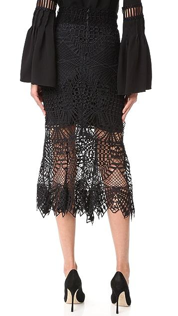 Jonathan Simkhai Bridge Lace Trumpet Skirt