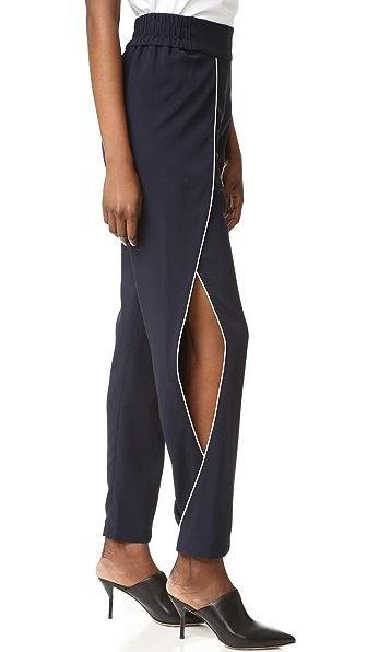 Jonathan Simkhai Classic Crepe Side Slit Pants - Navy/Ivory
