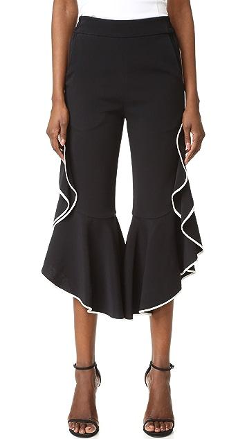Jonathan Simkhai Classic Ruffle Cropped Pants