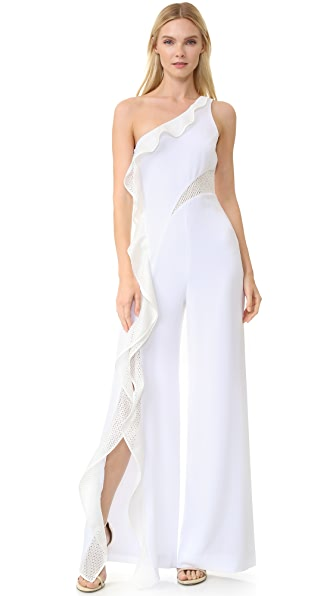Jonathan Simkhai Diamond Mesh One Shoulder Jumpsuit