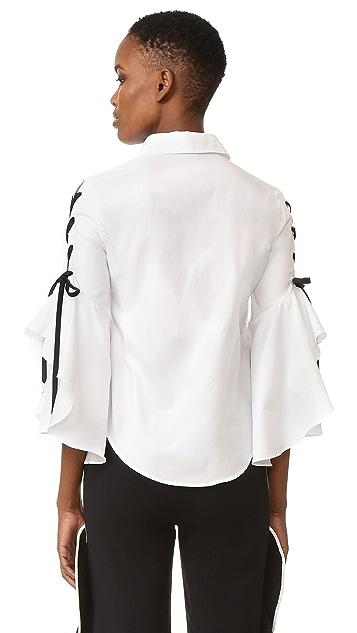 Jonathan Simkhai Lace Up Ruffle Sleeve Blouse