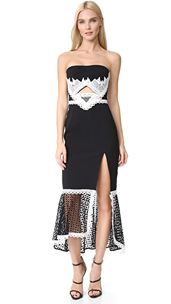 Jonathan Simkhai Windowpane Lace Cutout Slit Dress - Black/White