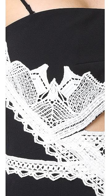 Jonathan Simkhai Windowpane Lace Cutout Slit Dress
