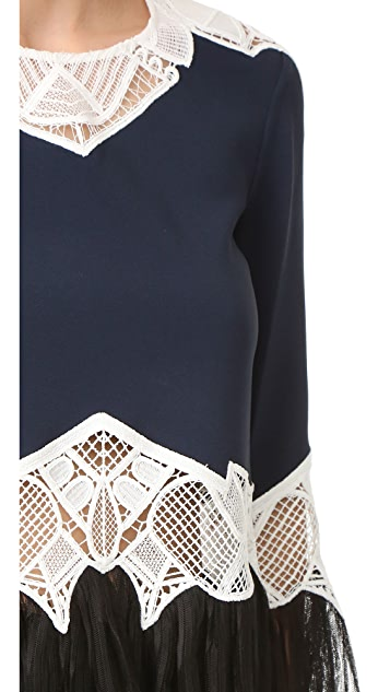 Jonathan Simkhai Pleated Applique Blouse