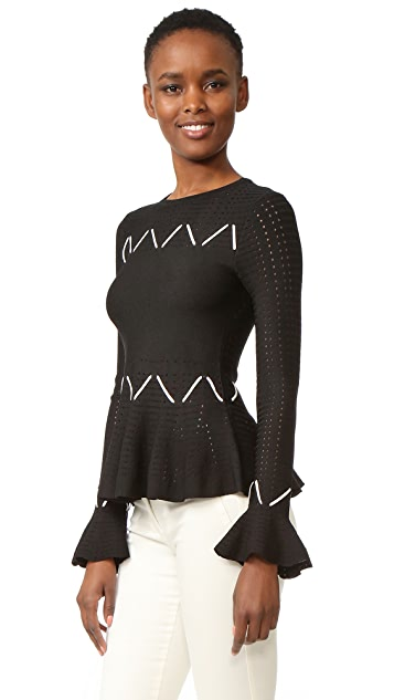 Jonathan Simkhai Laced Pointelle Peplum Top