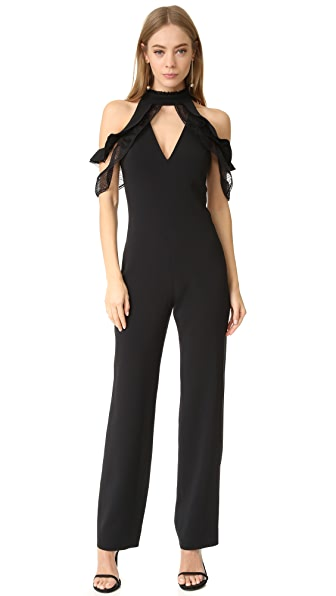 Jonathan Simkhai Lace Ruffle Cold Shoulder Jumpsuit - Black