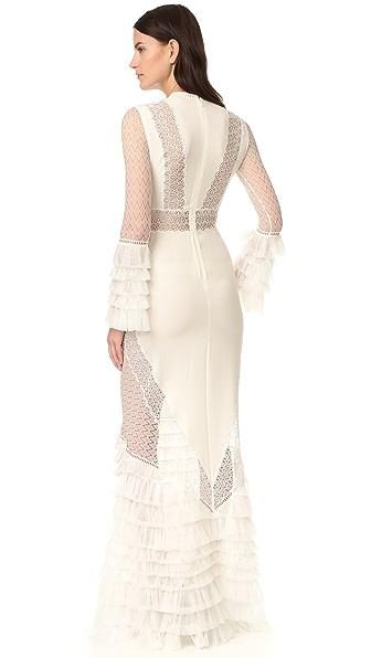 JONATHAN SIMKHAI Tiered Ruffle Long Sleeve Lace Dress