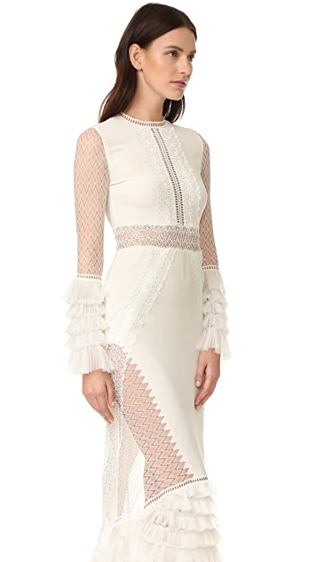 Jonathan Simkhai Вечернее платье с кружевной многоуровневой с оборками