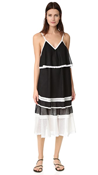 Jonathan Simkhai Slip Dress In White Combo