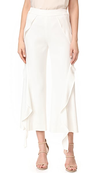 Jonathan Simkhai Cocktail Stretch Ruffle Crop Pants - White