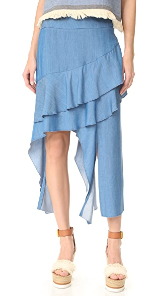 Jonathan Simkhai Fluid Chambray Hanging Skirt - Denim Chambray