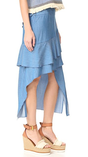 Jonathan Simkhai Fluid Chambray Hanging Skirt