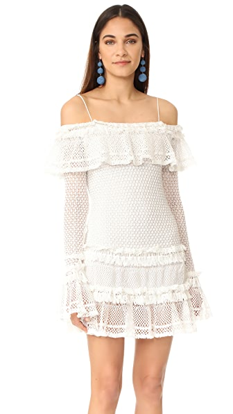 Jonathan Simkhai Ruffle Crochet Long Sleeve Mini Dress In White