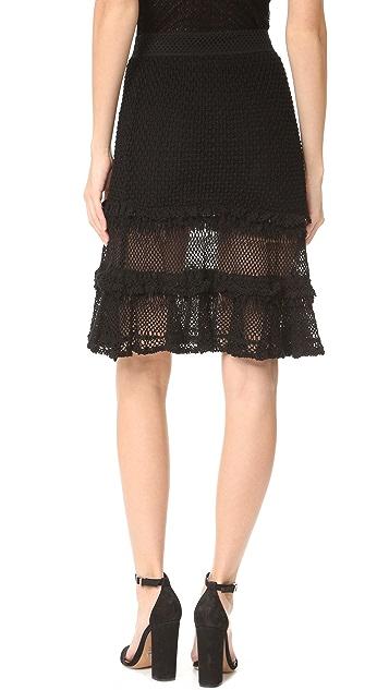 Jonathan Simkhai Ruffle Crochet Layered Skirt
