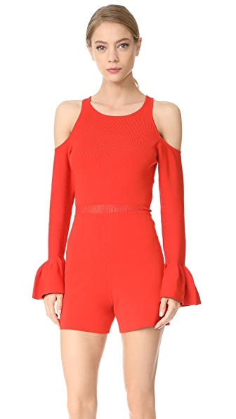 Jonathan Simkhai Signature Knit Cold Shoulder Romper - Red