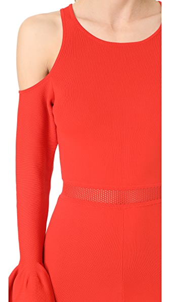 JONATHAN SIMKHAI Signature Knit Cold Shoulder Romper in Red