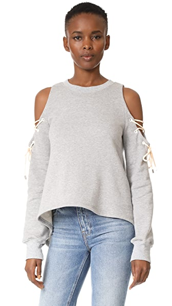 Jonathan Simkhai Lace Up Cold Shoulder Top In Grey Combo