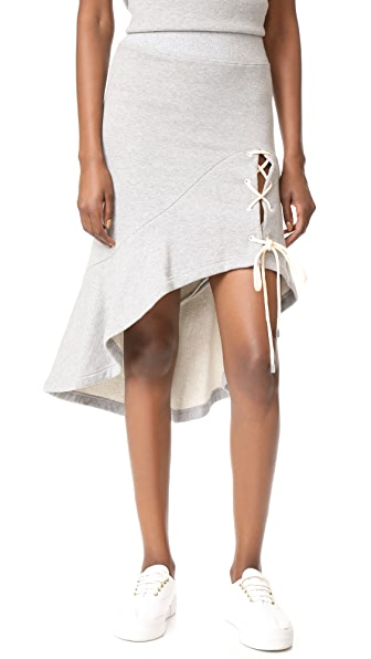 Jonathan Simkhai Lace-Up Slit Skirt