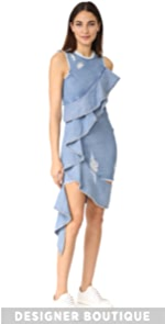 Asymmetrical Ruffle Denim Dress Jonathan Simkhai