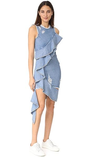 Jonathan Simkhai Asymmetrical Ruffle Denim Dress - Medium Indigo