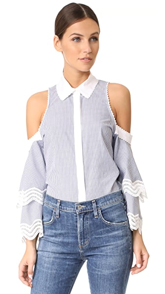 Jonathan Simkhai Cold Shoulder Ruffle Sleeve Top In Grey Pinstripe