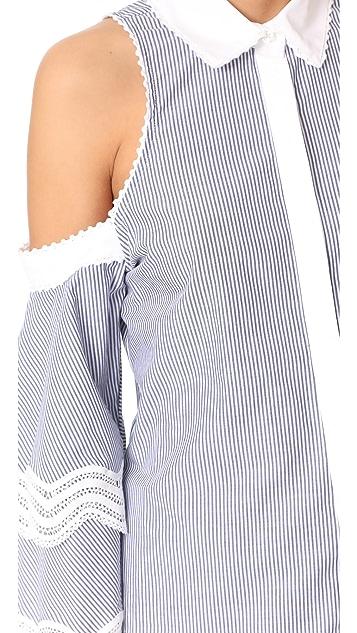 Jonathan Simkhai Cold Shoulder Ruffle Sleeve Top