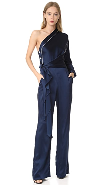 Jonathan Simkhai Sateen Off Shoulder Jumpsuit In Midnight