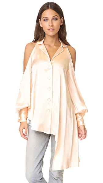 Jonathan Simkhai Cold Shoulder Blouse - Blush