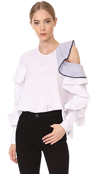 Jonathan Simkhai Graphic Trim Cold Shoulder Blouse