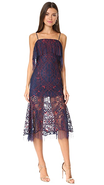 Jonathan Simkhai Two Tone Lace Bandeau Dress In Midnight/Red