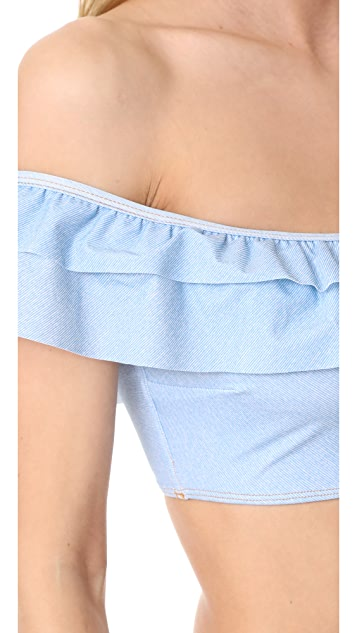 Jonathan Simkhai Ruffle Bandeau Bikini Top