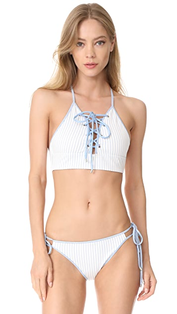Jonathan Simkhai Lace Up Bikini Top with Grommets
