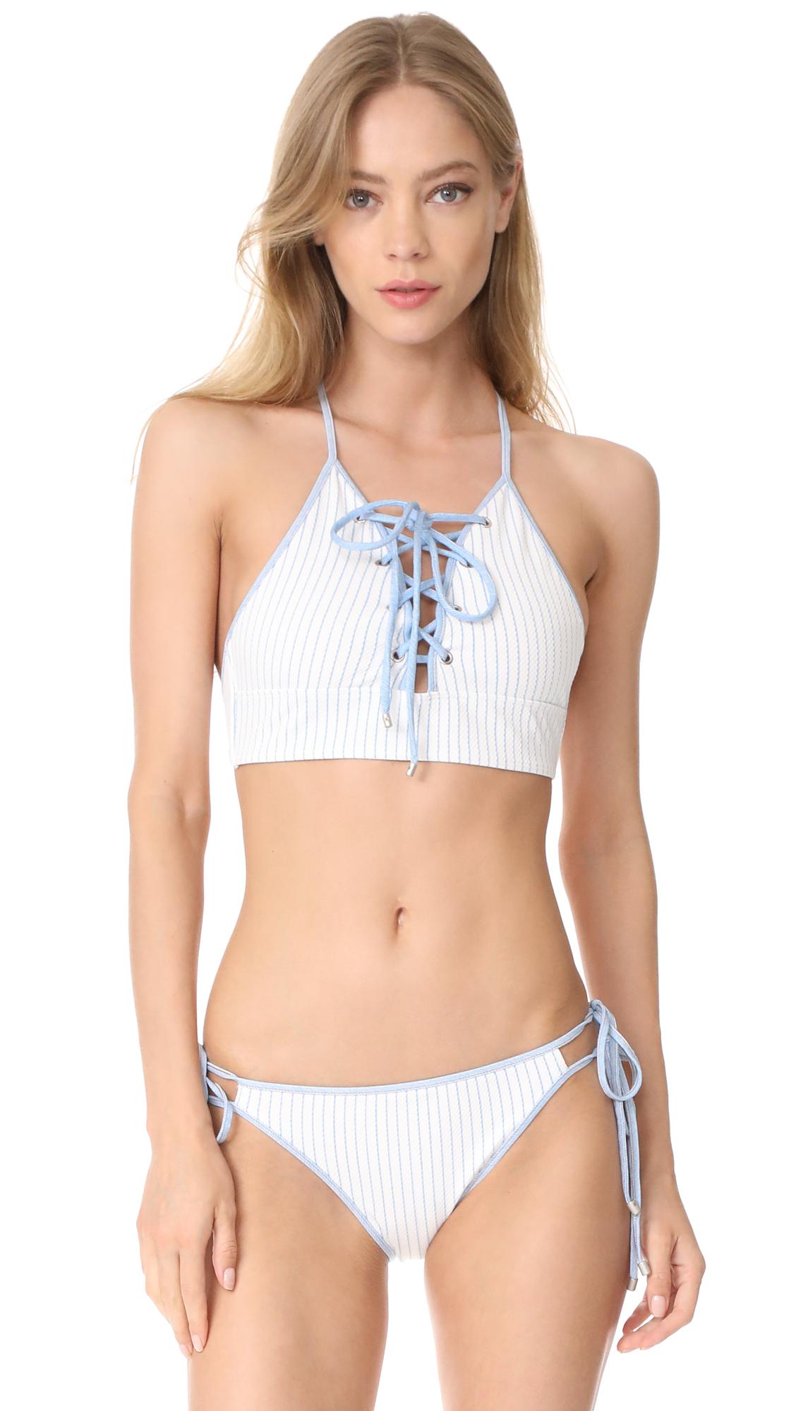 Jonathan Simkhai Lace Up Bikini Top with Grommets - Bright White/Blue Pinstripe