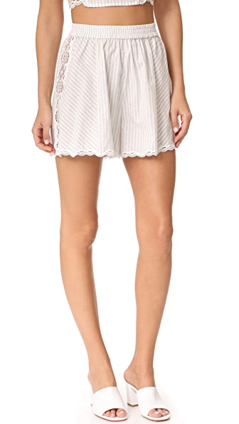 Jonathan Simkhai Trimmed Lace Flared Shorts - Grey Combo