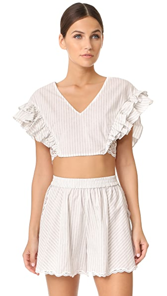 Jonathan Simkhai Trimmed Lace Ruffle Crop Top - Grey Combo