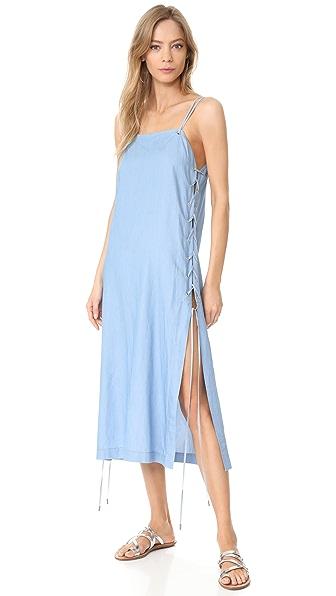 Jonathan Simkhai Chambray Lace Up Maxi Dress - Blue Combo