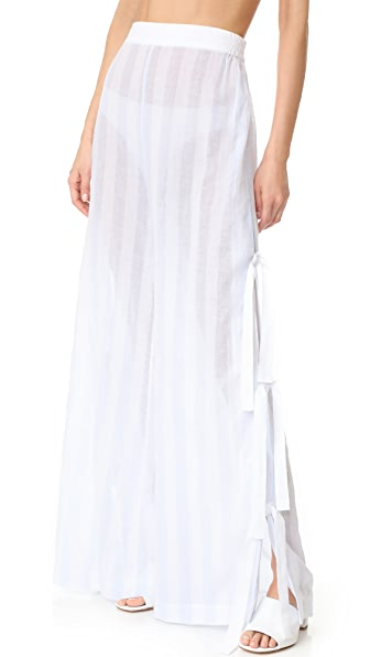 Jonathan Simkhai Side Tie Pants In French Blue/White