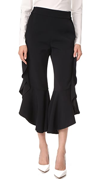 Jonathan Simkhai Classic Ruffle Cropped Pants In Black