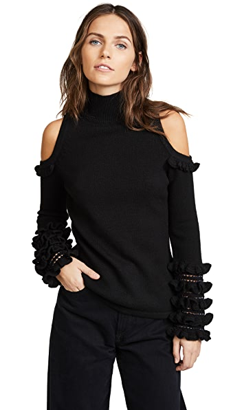 Jonathan Simkhai Crochet Ruffle Cold Shoulder Sweater In Black/Midnight